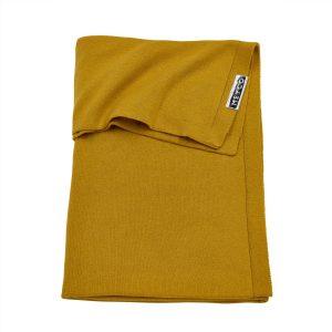 Meyco deken knit basic okergeel voorkant